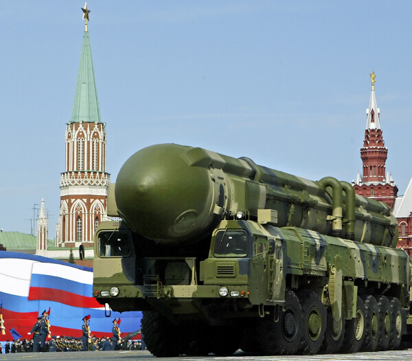 FILE - The May 9, 2008 file photo shows a Russian truck-mounted Topol intercontinental ballistic missiles rolling through  the Moscow Red Square in the annual Victory Day parade. Pushing his vision of a nuclear weapons-free world, President Barack Obama returned to Prague on Thursday, April 8, 2010 to sign a pivotal treaty aimed at sharply paring U.S. and Russian arsenals ? and repairing soured relations between the nations. With that, they will commit their nations to slash the number of strategic nuclear warheads by one-third and more than halve the number of missiles, submarines and bombers carrying them, pending ratification by their legislatures. The new treaty will shrink those warheads to 1,550 over seven years. That still allows for mutual destruction several times over. But it will send a strong signal that Russia and the U.S., which between them own more than 90 percent of the world's nuclear weapons, are serious about disarmament. (AP Photo/Alexander Zemlianichenko)