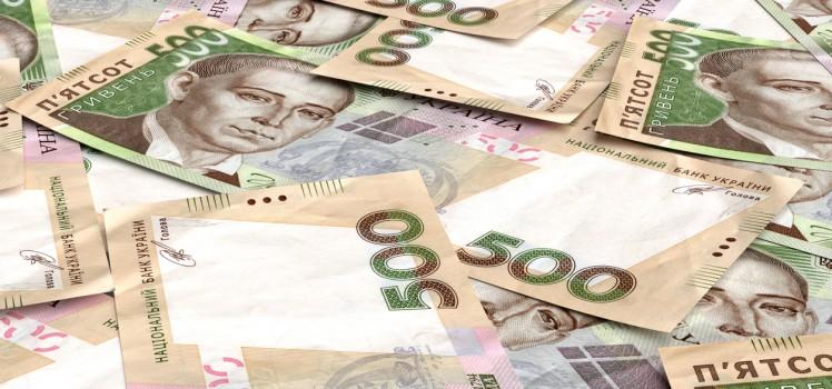 Background from ukrainian money hryvnia. 500 denomination. 3d render